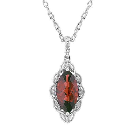 Marquise Garnet and Round Diamond Pendant (20 in)