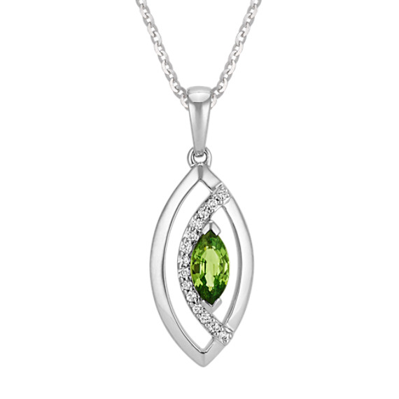 Marquise Green Sapphire & Diamond Pendant (22 in)