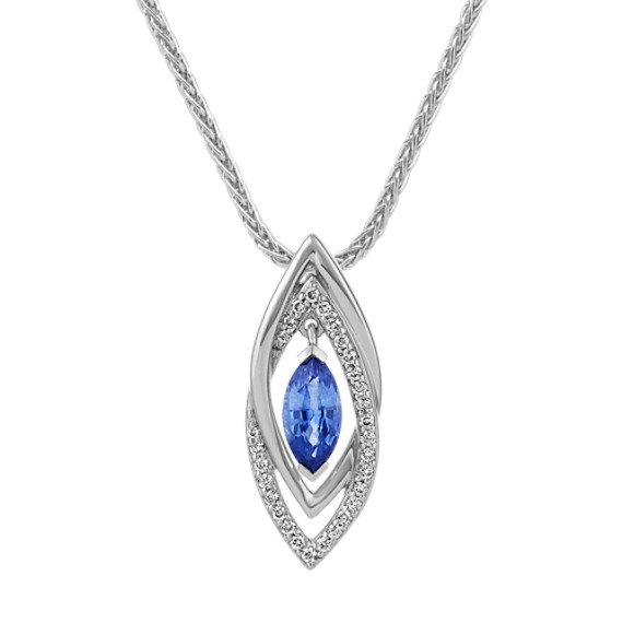 Marquise Kentucky Blue Sapphire and Diamond Pendant (22 in)