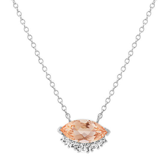 Morganite and White Sapphire Necklace (18 in)