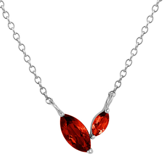Marquise Red Garnet Necklace (18 in)