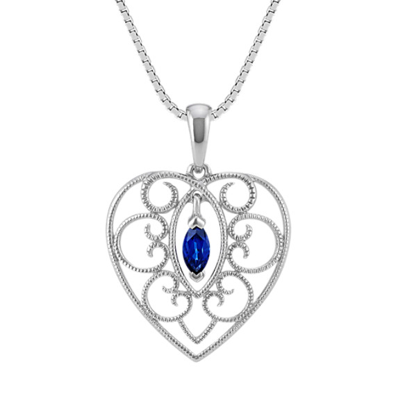 Marquise Traditional Blue Sapphire Heart Pendant in Sterling Silver (20 in.)