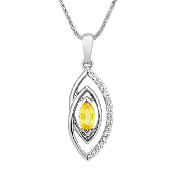Marquise Yellow Sapphire and Round Diamond Pendant (22 in)