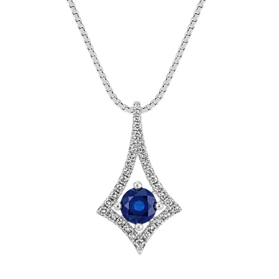 Modern Traditional Sapphire and Diamond Pendant (18 in)