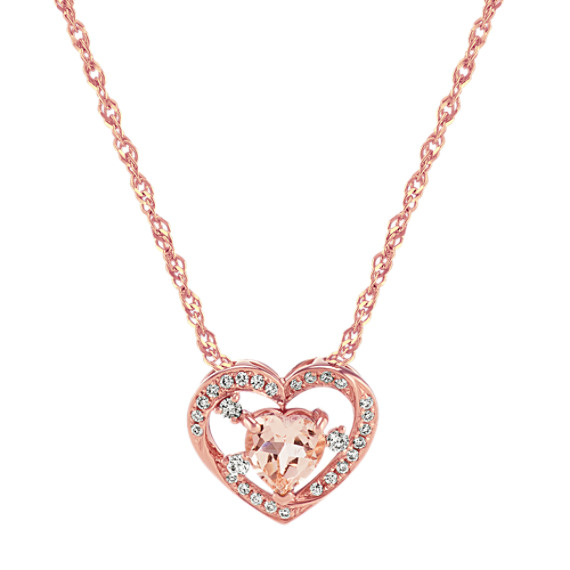Morganite and Diamond Heart Pendant (22 in.)