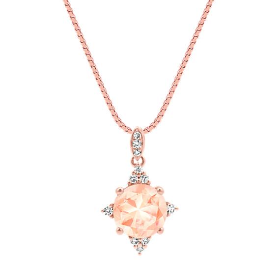 Morganite and Diamond Pendant in Rose Gold (18 in)
