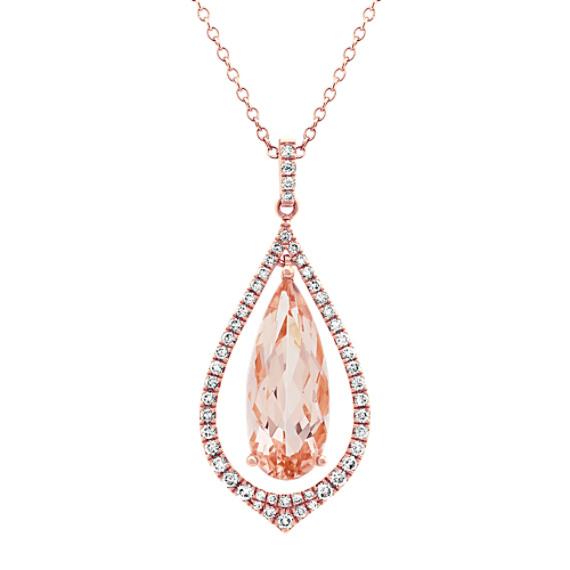 Morganite & Diamond Pendant in Rose Gold (24 in)