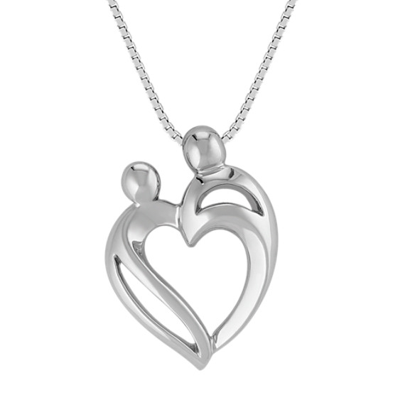 Mother & Child Heart Pendant in Sterling Silver (18 in)