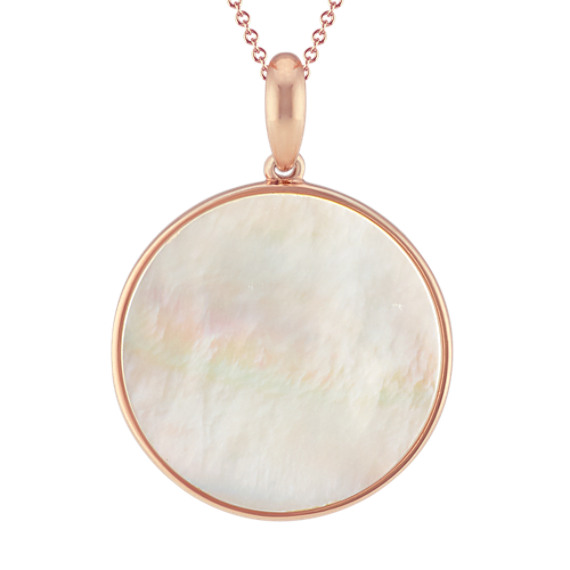 Mother of Pearl Circle Pendant in Rose Sterling Silver (20 in)