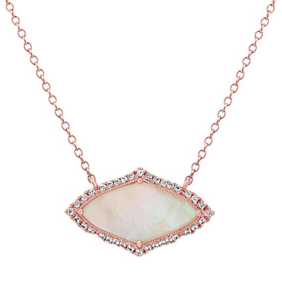 Mother of Pearl and White Sapphire Necklace (18 in)