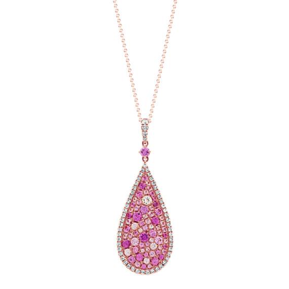 Mosaic Pink Sapphire & Diamond Pendant (24 in)