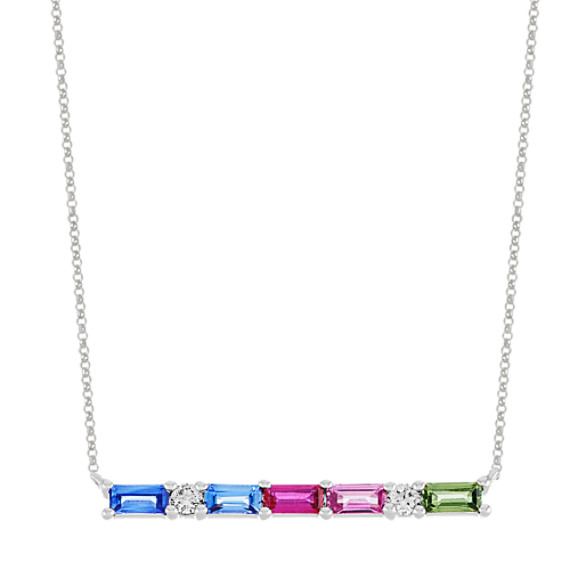 Multi-Color Sapphire and Diamond Necklace (16 in)