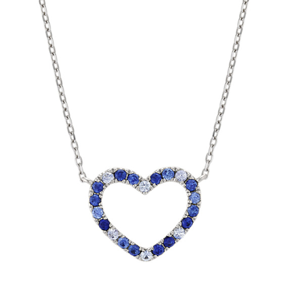 Multi-Colored Blue Sapphire Heart Necklace (20 in)