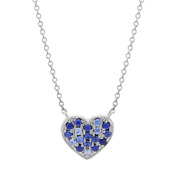 Multi-Colored Blue Sapphire Heart Necklace (20 in)