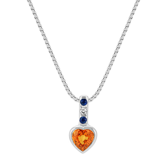 Orange Heart-Shaped Sapphire,Traditional Sapphire & Diamond Pendant (20 in)