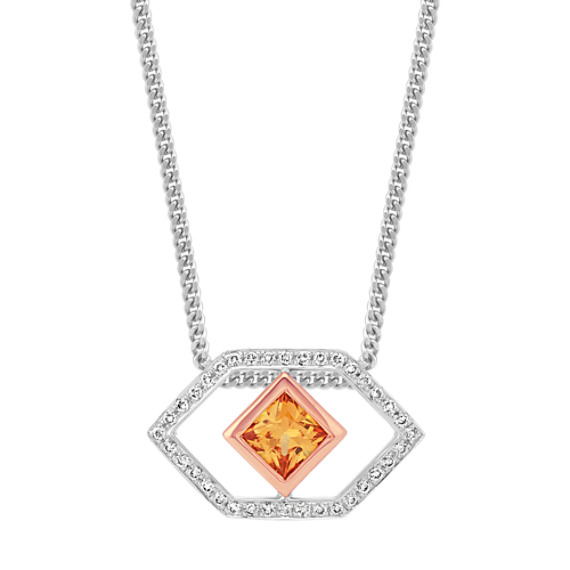 Orange sapphire and round diamond pendant 22 in shane co orange sapphire and round diamond pendant 22 in aloadofball Image collections