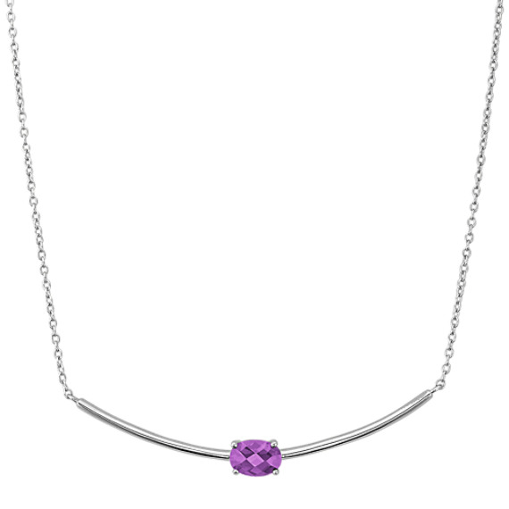 Oval Amethyst Necklace in Sterling Silver (18 in)