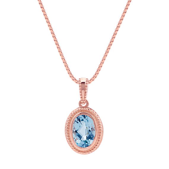 Oval aquamarine pendant in 14k rose gold 18 in shane co oval aquamarine pendant in 14k rose gold 18 in mozeypictures Choice Image