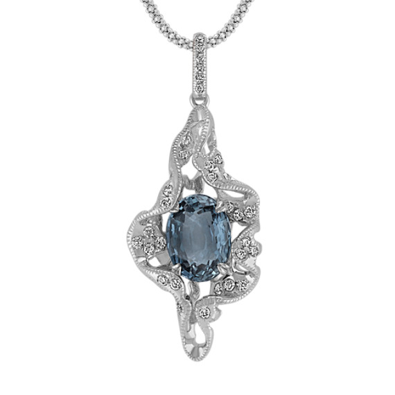 Oval Blue Green Sapphire and Diamond Pendant (22 in)