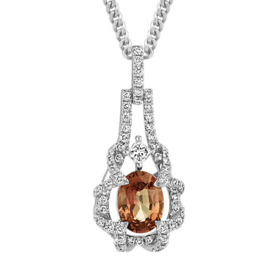 Oval Cognac Sapphire, Round and Princess Cut Diamond Pendant (18 in)