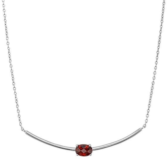 Oval Garnet Necklace in Sterling Silver (18 in)