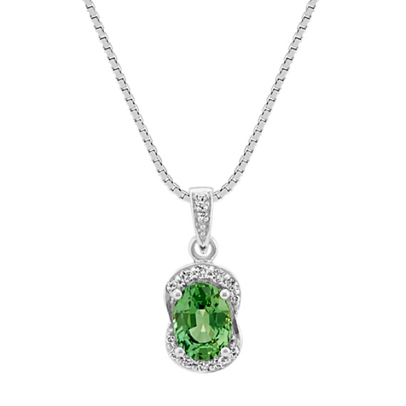 Oval green sapphire and diamond pendant 18 in shane co oval green sapphire and diamond pendant 18 in aloadofball Choice Image