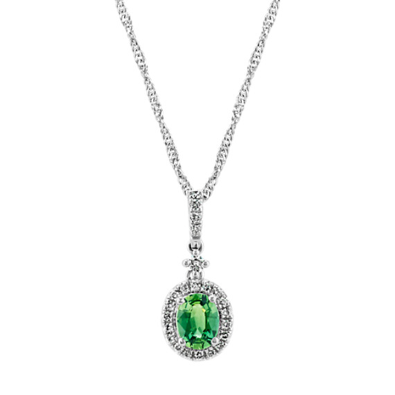 Oval Green Sapphire and Diamond Pendant (18 in)