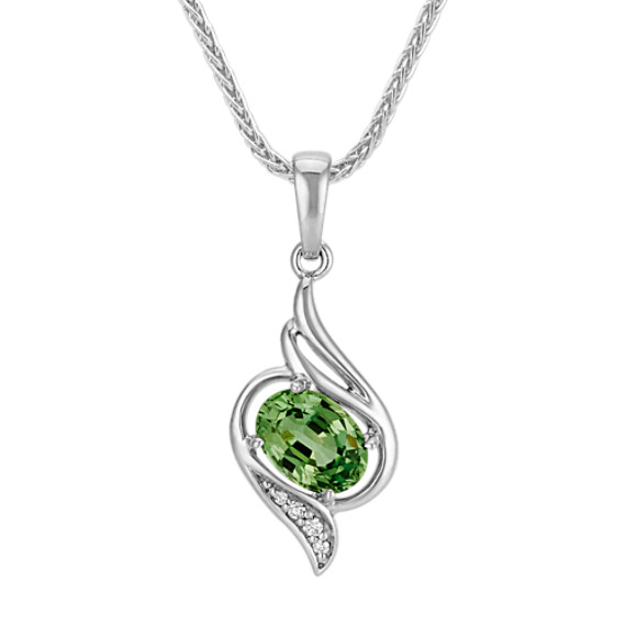 Oval Green Sapphire and Round Diamond Pendant (22 in)