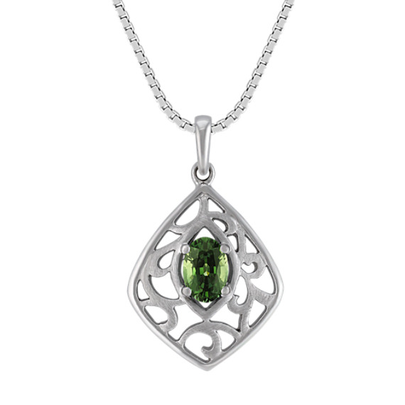 Oval Green Sapphire and Sterling Silver Pendant (18 in)