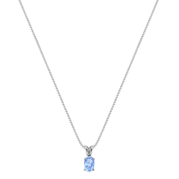 Oval Ice Blue Sapphire Pendant (18 in) image