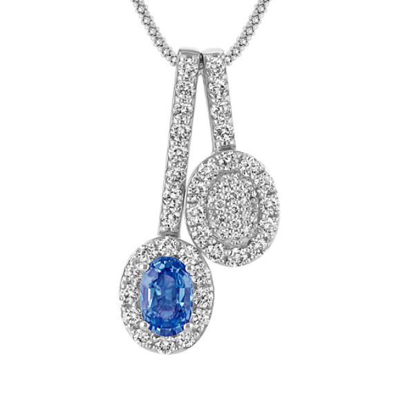 Oval Ice Blue Sapphire and Diamond Double Pendant (22 in)