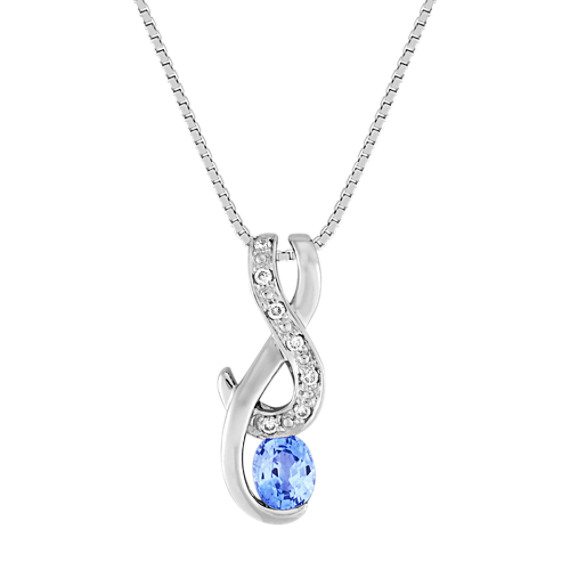 Oval Ice Blue Sapphire and Diamond Pendant (18 in)