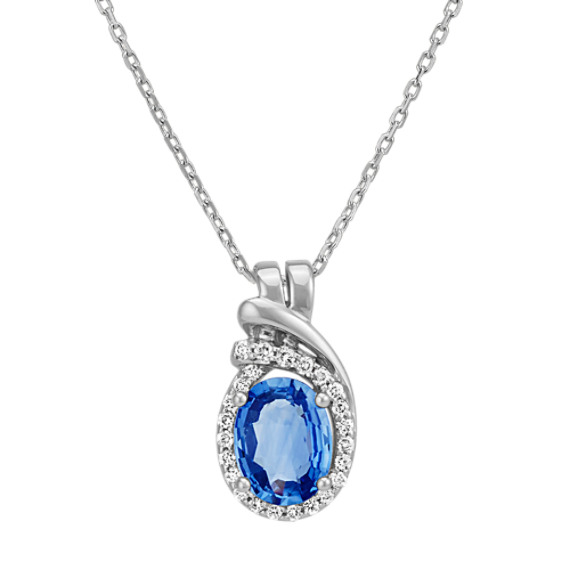 Oval Kentucky Blue Sapphire and Round Diamond Swirl Pendant (22 in)