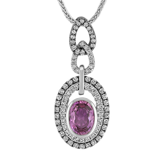 Oval Lavender Sapphire and Diamond Pendant with Black Rhodium (22 in)