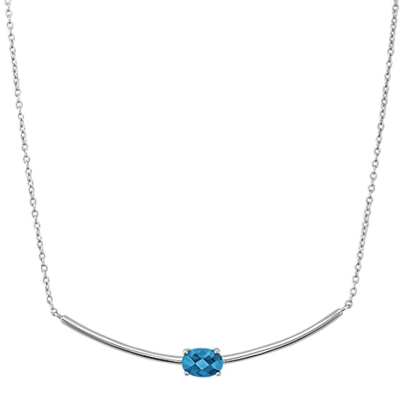 Oval London Blue Topaz Necklace (18 in)