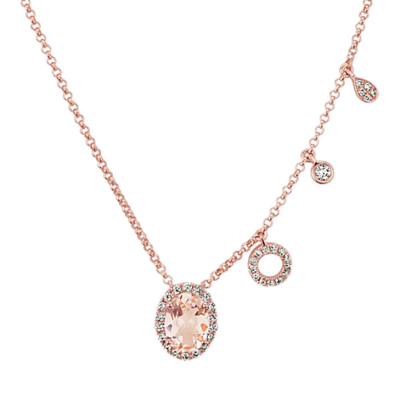 Oval Morganite and Diamond Necklace (18 in)