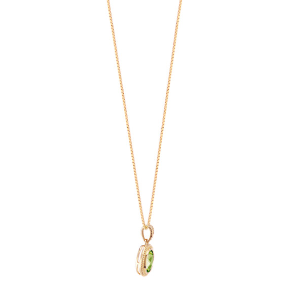 Oval peridot pendant in 14k yellow gold 18 in shane co tap to zoom thumbnail aloadofball Gallery