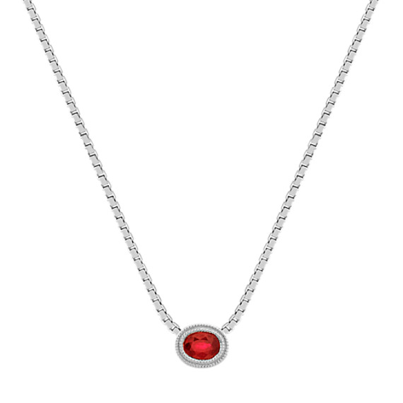 Oval Ruby Necklace in 14k White Gold (18 in)