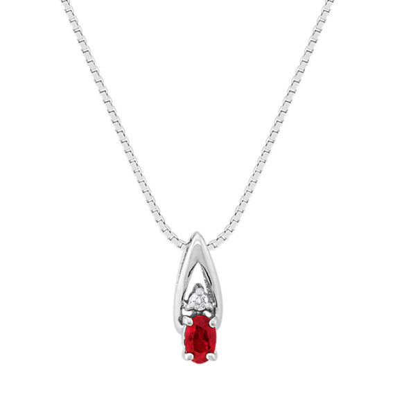 Oval Ruby and Diamond Pendant (18 in)