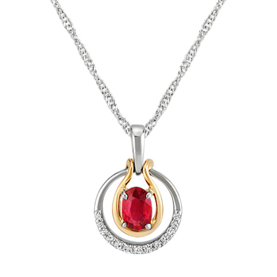 Oval Ruby and Round Diamond Circle Pendant in Two-Tone Gold (22 in)