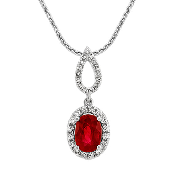 Oval Ruby and Round Diamond Pendant (20 in)