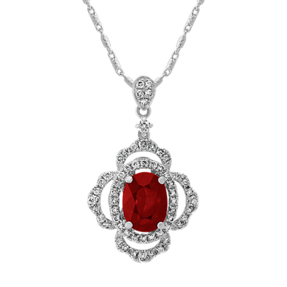 Oval Ruby and Round Diamond Pendant (22 in.)