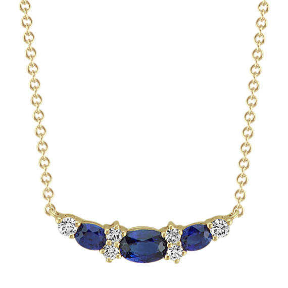 Oval Sapphire and Round Diamond Necklace (18 in)