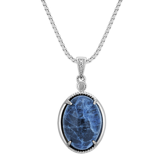 Oval Sodalite and Sterling Silver Pendant (18 in)
