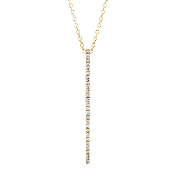 Pave-Set Diamond Bar Pendant in 14k Yellow Gold (24 in)