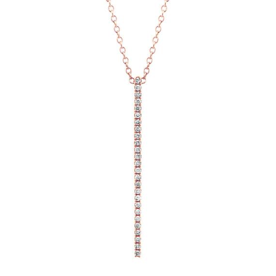 Pave-Set Diamond Bar Pendant in 14k Rose Gold (24 in)