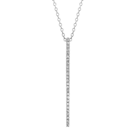 Pave-Set Diamond Bar Pendant in 14k White Gold (24 in)