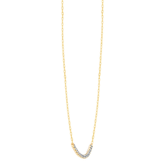 Pave-Set Diamond Curved Bar Necklace (18 in) image
