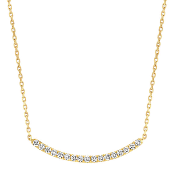 Pave-Set Diamond Curved Bar Necklace (18 in)