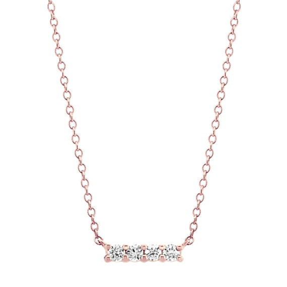Four Stone Diamond Bar Necklace (18 in)